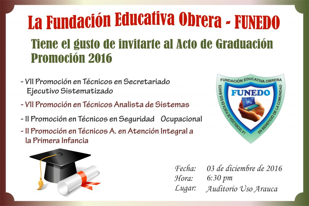 Acto De Graduación Promoción 2016